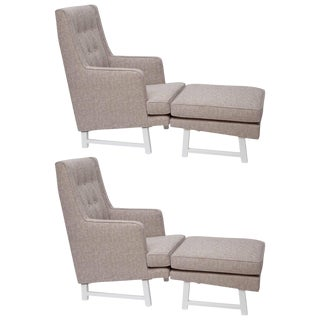 Restored Armchairs With Ottomans by Edward Wormley for Dunbar - a Pair For Sale