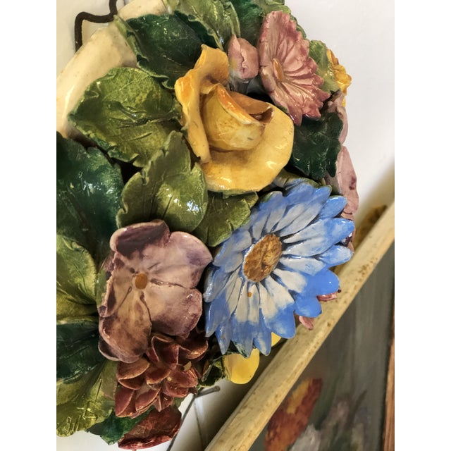 Floral Polychrome Ceramic Capodimonte Sculpture For Sale In Atlanta - Image 6 of 13