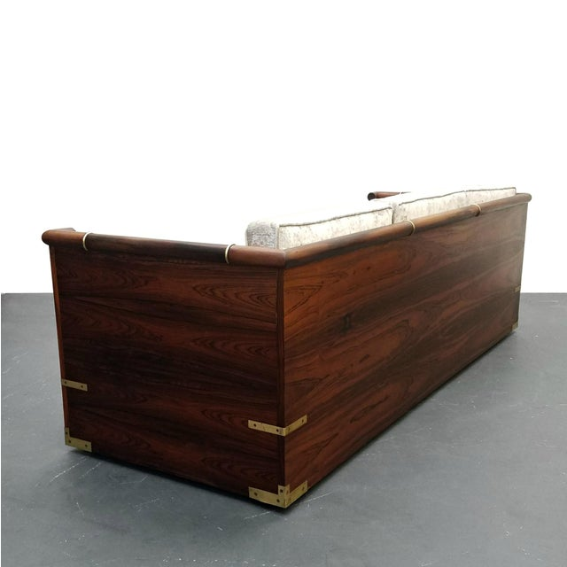 Campaign Mid Century Rosewood Campaign Style Case Sofa with Brass Details For Sale - Image 3 of 8