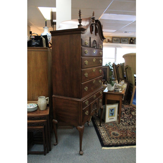Late 20th Century Queen Anne Style Cherry Highboy For Sale - Image 9 of 10