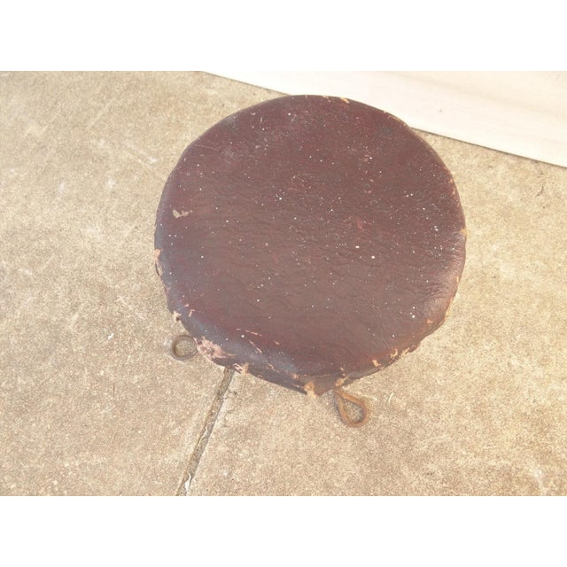 Rustic Antique Ice Cream Parlor Twisted Metal Foot Stool Ottoman For Sale - Image 3 of 7