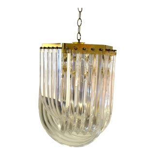 Mid-Century Modern Lucite and Brass Ribbon Chandelier With Canopy For Sale