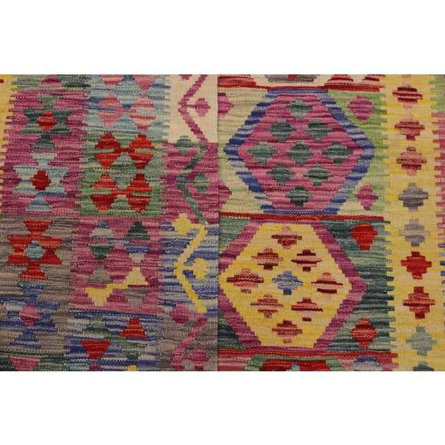Textile Bohemian Tressa Pink/Blue Hand-Woven Kilim Wool Rug - 6'10 X 9'9 For Sale - Image 7 of 8