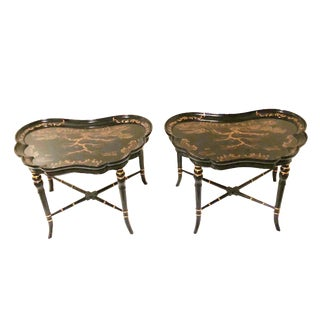 Chinoiserie Karges Furniture Black Lacquer Side Tables - a Pair For Sale