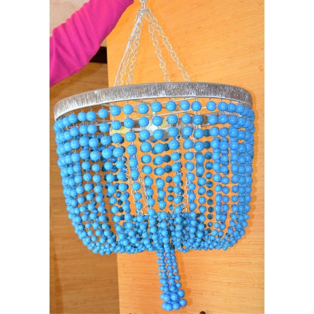 Arteriors Home Turquoise Beaded Four Light Chandelier - Image 8 of 11