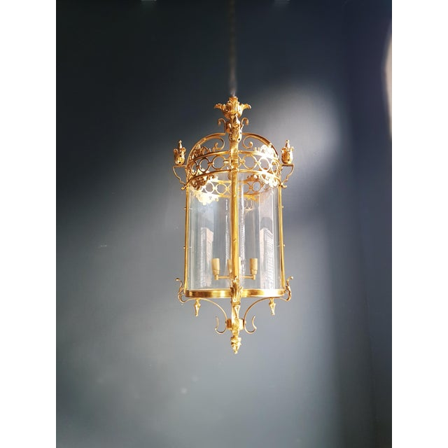 6 Aviable Large Cylindrical Lantern in Louis XVI Style Brass Glass Pendant Lighting For Sale - Image 6 of 10
