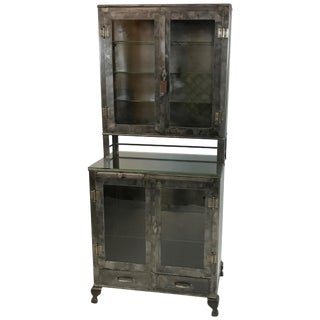 Vintage Industrial Brushed Steel Apothecary Cabinet For Sale