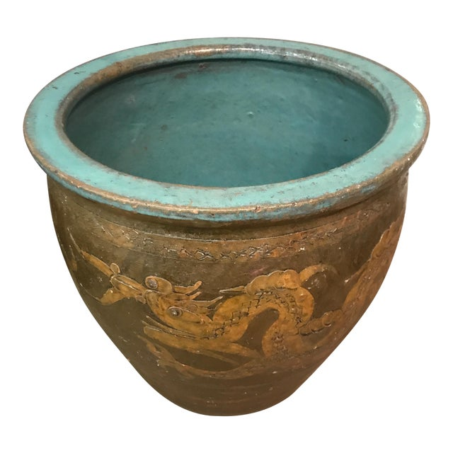 Antique Chinese Clay Sculpted Dragon Egg Pot Planter For Sale
