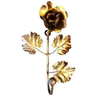 Floral Gilt Iron Hook For Sale