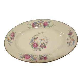 Platter Small Limoges Gilt Rim Hoo Poo Birds & Flowers Summer Table For Sale