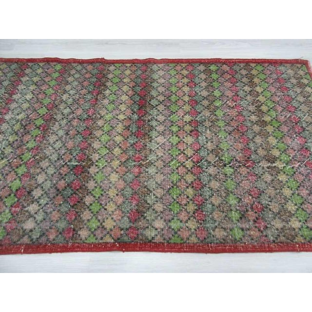 Vintage Turkish Art Deco Hand-Knotted Rug - 4′2″ × 7′4″ For Sale - Image 4 of 6