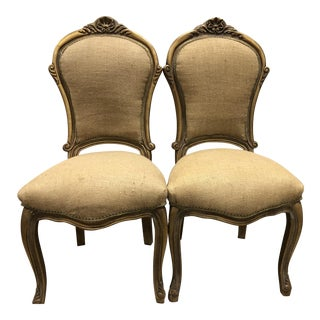 Vintage French Ornate Side Chairs - a Pair