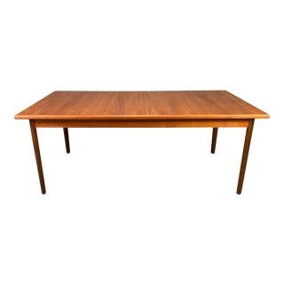 Vintage Danish Mid Century Modern Teak Dining Table For Sale
