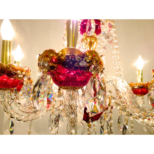 Red Crystal Chandelier - Image 5 of 8