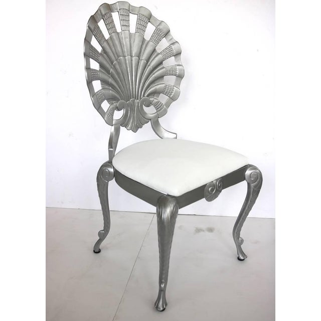 Gothic 1950s Hollywood Regency Style Grotto Side Chairs in Silver - Set of 4 For Sale - Image 3 of 8