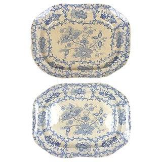 English Blue Transferware Platters - Pair