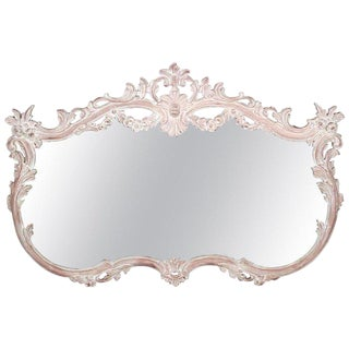 French Louis XV Style Bleached Wood Wall Mirror For Sale