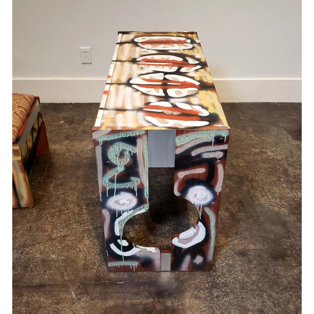 Lionel Lamy Graffitied Artist Painted 1970s Desk or Vanity - a Pair For Sale - Image 4 of 9
