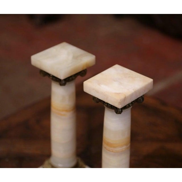 Late 19th Century 19th Century Napoleon III Carved Marble and Bronze Decorative Columns-a Pair For Sale - Image 5 of 7