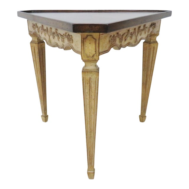 Italian Corner Table W/ Floral Motif For Sale