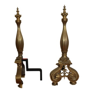 Vintage Solid Brass Andirons - A Pair