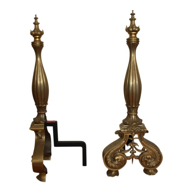 Vintage Solid Brass Andirons - A Pair For Sale
