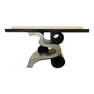 Modern Silver Leaf and Black Lacquer Console Table For Sale