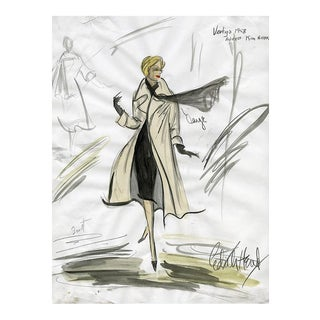 "11x14 Reproduction Print of Original Costume Sketch by Edith Head of Kim Novak for ""Vertigo"" (1958)"