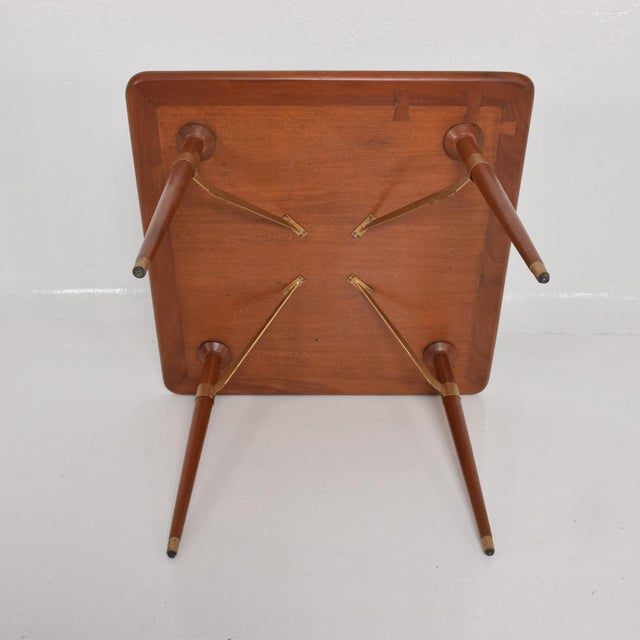 Gold Mexican Modernist Game or Dining Table in Mahogany Wood Attr Eugenio Escudero For Sale - Image 8 of 10