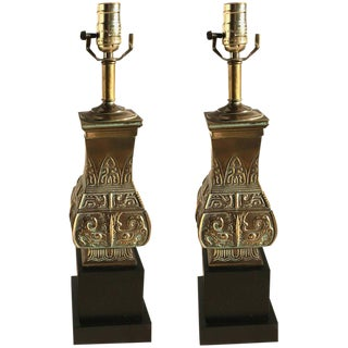 Pair of Brass Pepe Mendoza Style Lamps For Sale