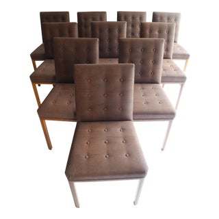 1960s Vintage Upholstered Dunbar Dining Chairs- Set of 10 For Sale