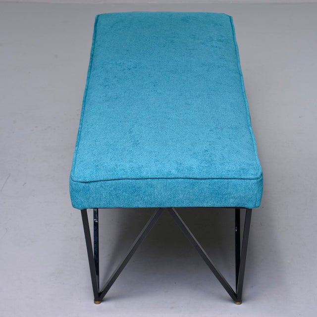 Italian Mid-Century Style Bench With Teal Fabric and Black Metal Legs For Sale - Image 9 of 10