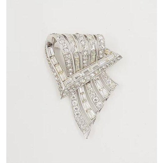 1950s Boucher Rhodium Plated Rhinestone Brooch, 1954 For Sale - Image 5 of 8