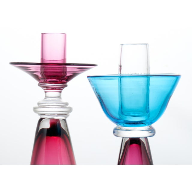 Murano Amethyst & Cerulean Glass Candlesticks - a Pair - Image 6 of 10