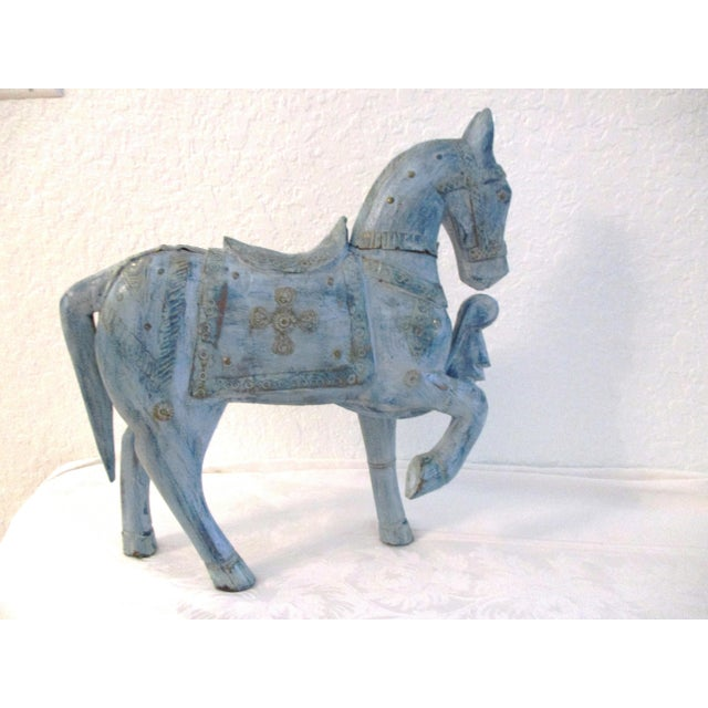 Metal 1990s Antique Blue Wood & Brass Tang Stallion For Sale - Image 7 of 8