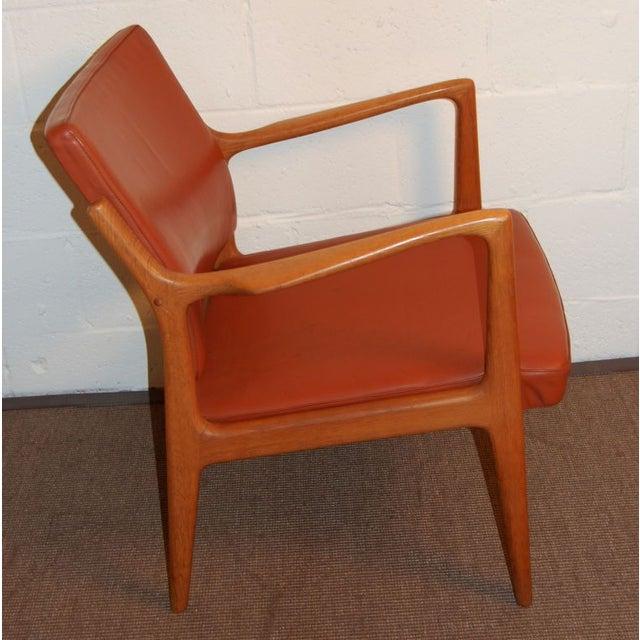 Mid-Century Modern Karl-Erik Ekselius Leather & Teak Arm Chair For Sale - Image 3 of 6