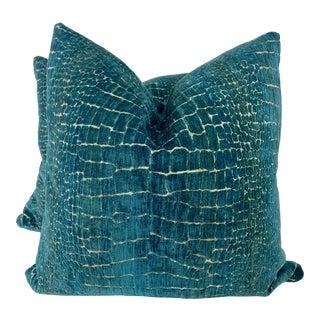 "Crocodile Cut Velvet/Chenille InTeal 22"" Pillows-A Pair For Sale"