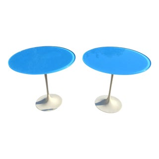 Mid Century Saarinen Style Blue Glass Top Tulip Side Tables - a Pair