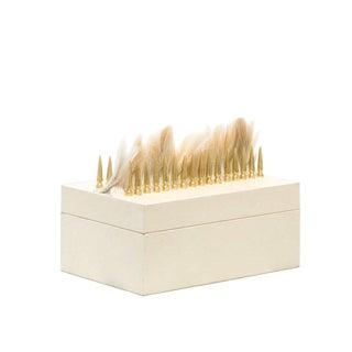 Cream Leather Punk/ Storage Box, Accessory or Utility Box, Decorative Home Décor, Accent Modern Design For Sale