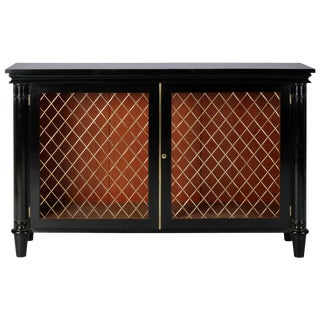 Ebonised English Sideboard With Brass Grills