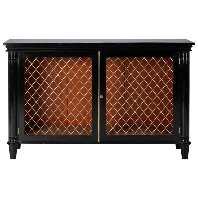 Ebonised English Sideboard With Brass Grills For Sale