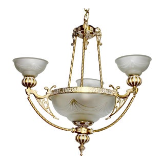 Vintage Art Deco Nouveau French Gold Gilt Glass Chandelier Light For Sale