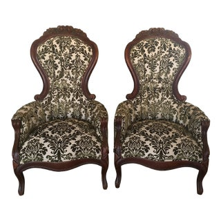 Victorian Parlor Chairs Reupholstered in Green Flocked Velvet Fabric - A Pair For Sale