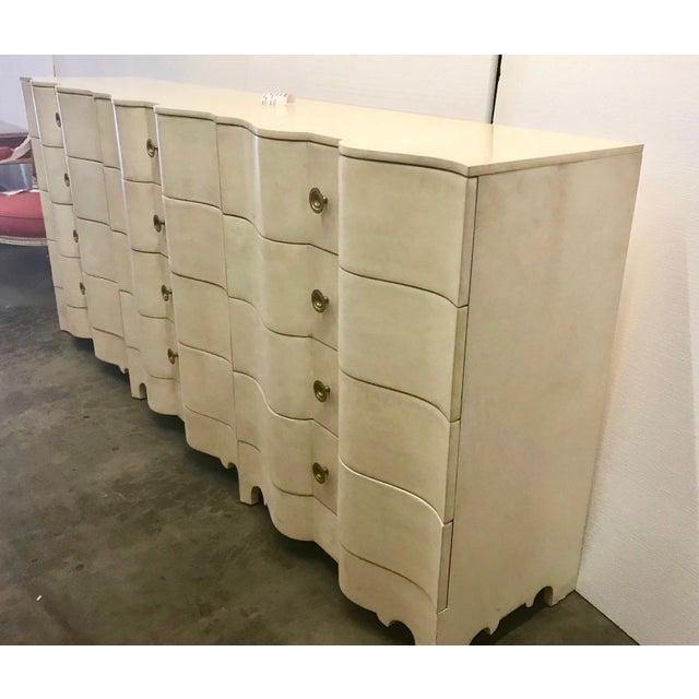 Large Hollywood Regency Parchment Dresser For Sale - Image 4 of 5