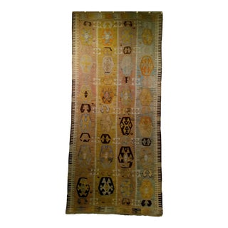 Art Deco Oushak Kilim - 4′9″ × 10′2″ For Sale