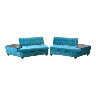 Mid Century Modern 2 Piece Sectional Sofa With Built in Mirrored Tables For Sale