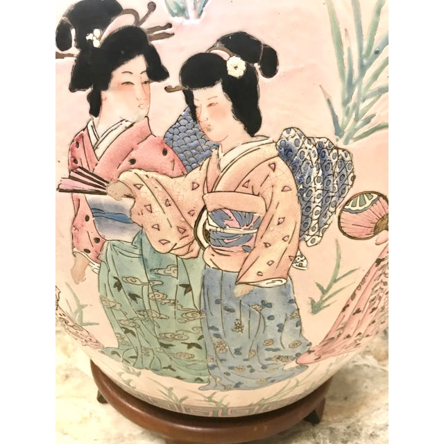 Mid 20th Century Chinese Pink Porcelain Fishbowl Urn Planter on Stand For Sale - Image 5 of 7