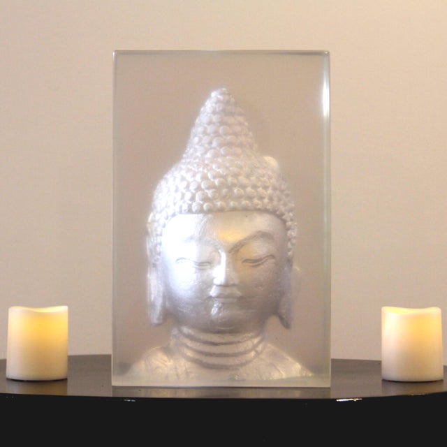 Geometric Resin Sculpture, Buddha Wall Relief - Image 3 of 4