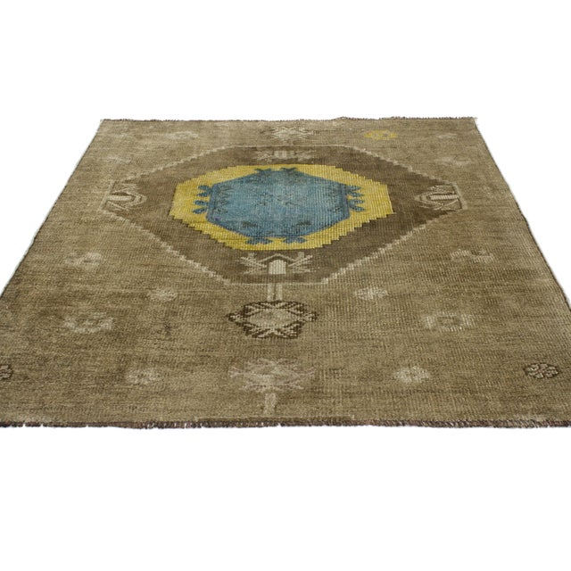 Boho Chic Vintage Turkish Oushak Runner with Modern Contemporary Style, 3'11 x 4'4 For Sale - Image 3 of 7