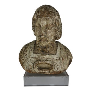 19th Century Carved Wood Italian Bust on Lucite Base For Sale